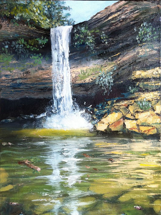 Пейзаж ручной работы. Ярмарка Мастеров - ручная работа. Купить Лесной водопад. Handmade. Водопад, лес, утро, день, отражение