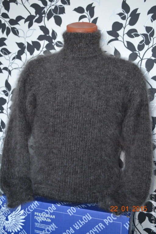 Кофты и свитера ручной работы. Ярмарка Мастеров - ручная работа. Купить Свитер вязанный  МУЖСКОЙ пуховый. Handmade. Темно-серый