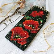 Сумки и аксессуары handmade. Livemaster - original item Eyeglass case beaded Poppies. Handmade.