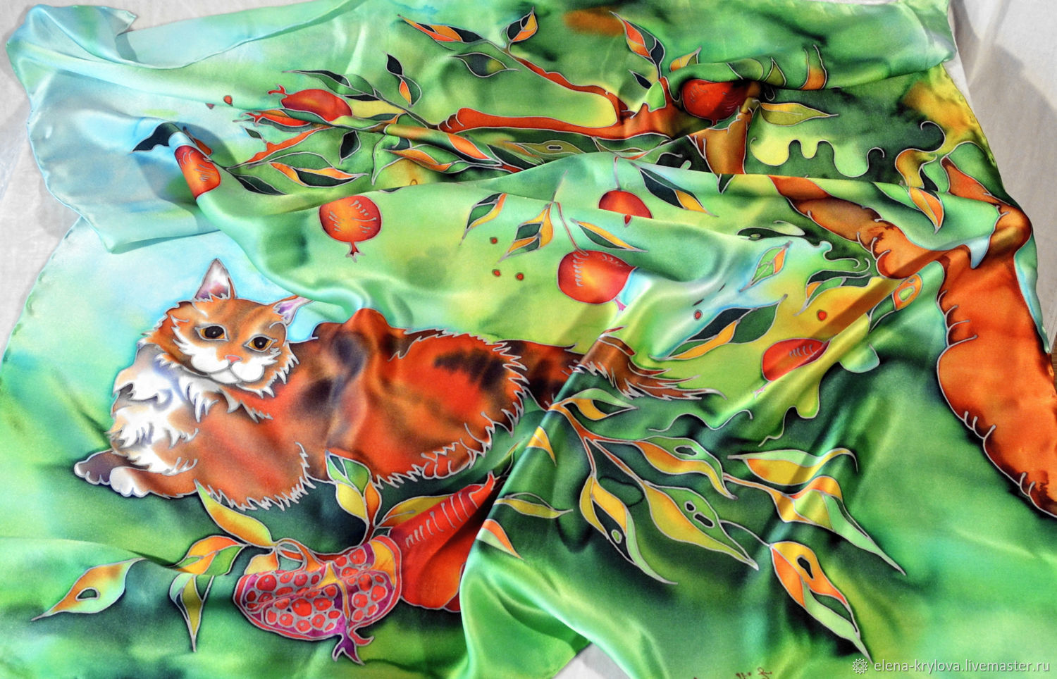 Silk scarf batik Cat and pomegranates, Shawls1, Ryazan,  Фото №1