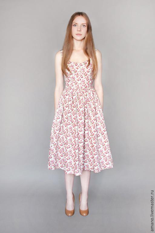 Платья ручной работы. Ярмарка Мастеров - ручная работа. Купить Платье с розовыми розочками. Handmade. Кремовый, розы, Платье в цветочек