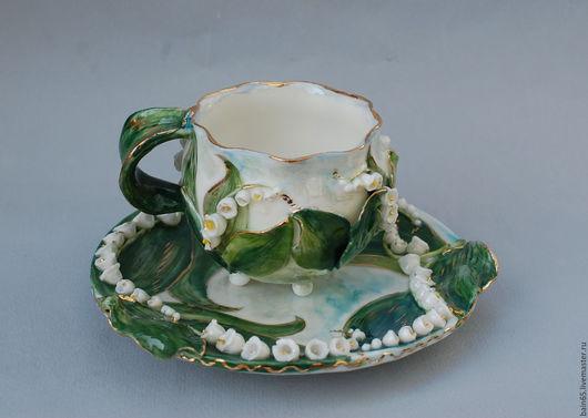 """Сервизы, чайные пары ручной работы. Ярмарка Мастеров - ручная работа. Купить Чайная пара """"Ландыши"""". Handmade. Разноцветный"""