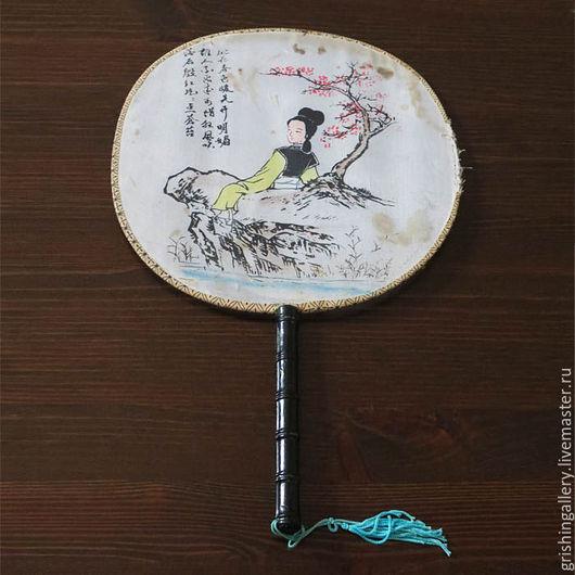 Веера ручной работы. Ярмарка Мастеров - ручная работа. Купить Антикварный китайский веер «Девушка на берегу реки». Handmade. Комбинированный
