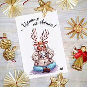 Открытки handmade. Livemaster - original item Winter card with deer and wishes.. Handmade.