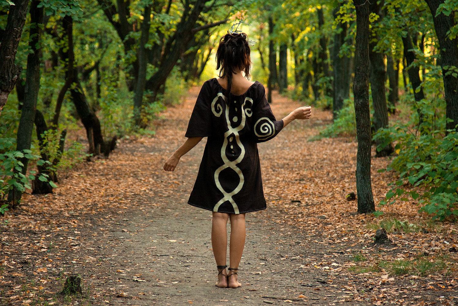 Ethnic Linen Dress «Chocolate» Hand-made Folk Midi Dress, Dresses, Rostov-on-Don,  Фото №1