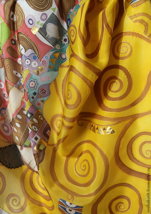 батик, климт, платок, золото, шелк