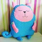 """Куклы и игрушки ручной работы. Ярмарка Мастеров - ручная работа Подушка сплюшка """"милый котейка"""" и др игрушки. Handmade."""