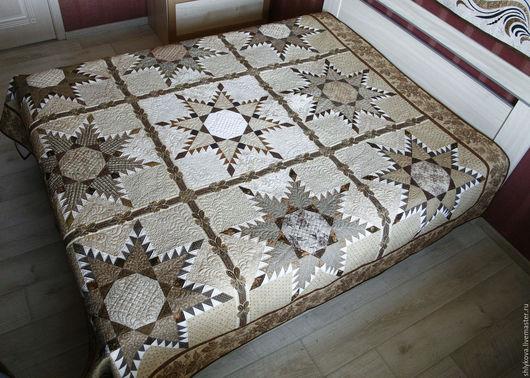 """Текстиль, ковры ручной работы. Ярмарка Мастеров - ручная работа. Купить одеяло """"Дикий Запад"""". Handmade. Коричневый, покрывало пэчворк"""