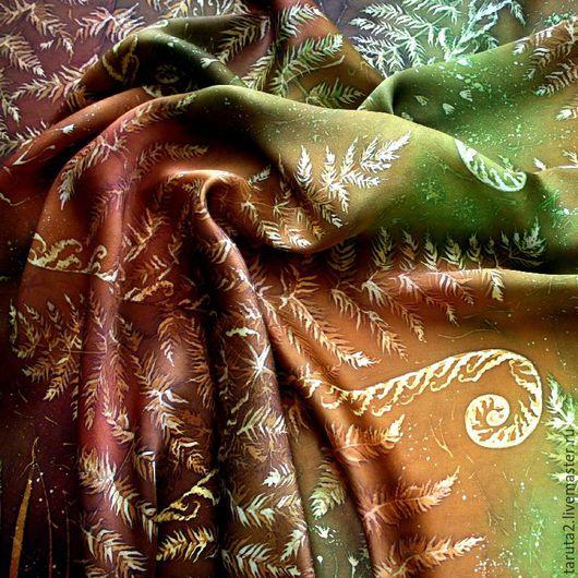 Платок батик `Папоротник` (фрагмент росписи)