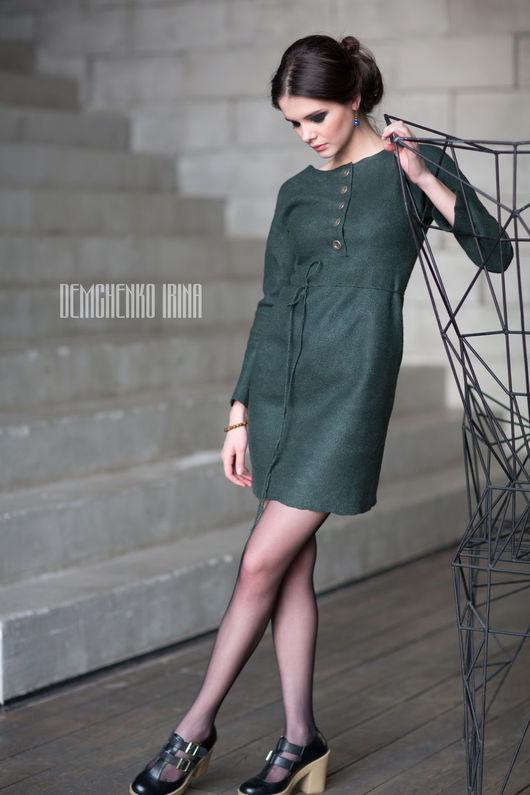Платья ручной работы. Ярмарка Мастеров - ручная работа. Купить Валяное платье «Emereld». Handmade. Тёмно-зелёный, ирина демченко