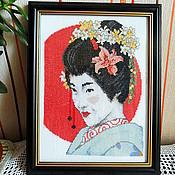 Картины и панно ручной работы. Ярмарка Мастеров - ручная работа Японка, вышитая картина восточный стиль девушка, цветы, красный, белый. Handmade.