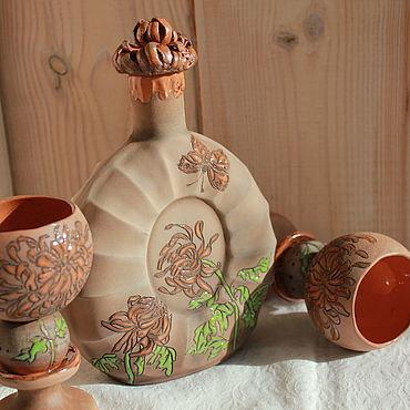 Посуда ручной работы. Ярмарка Мастеров - ручная работа Графин и рюмки Хризантемы керамика. Handmade.