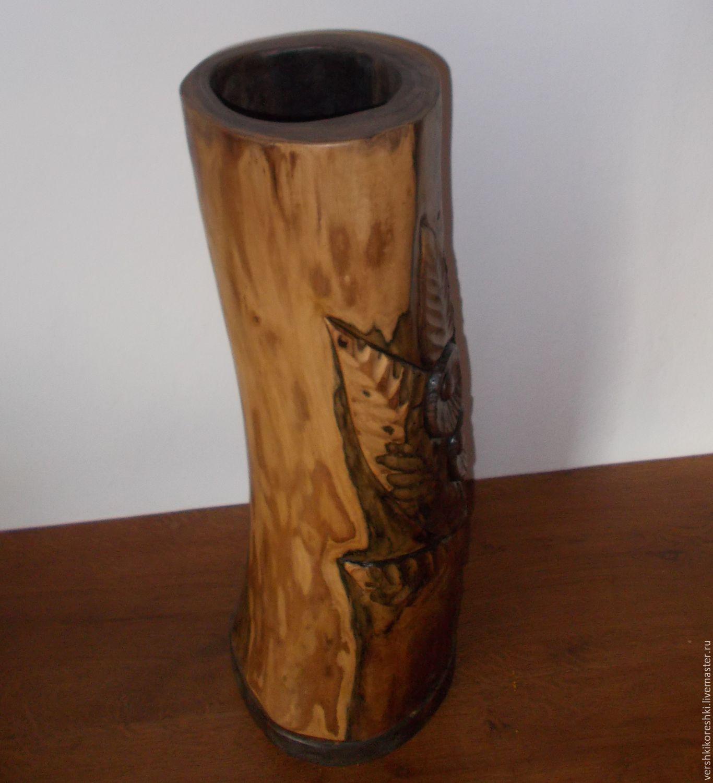 ваза, вазон, для цветов, для сухоцветов, ваза из дерева