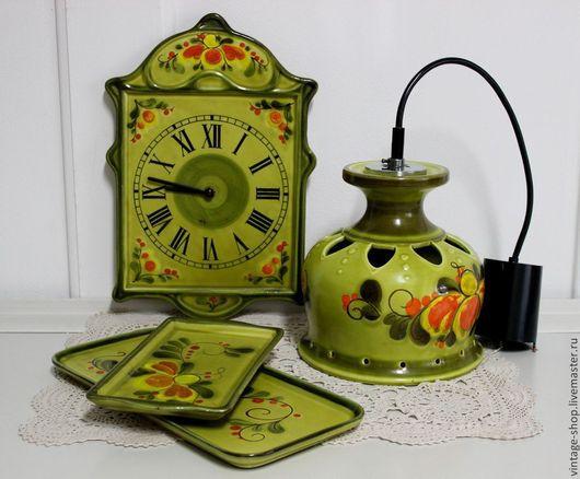 """Винтажные предметы интерьера. Ярмарка Мастеров - ручная работа. Купить Керамический набор, лампа, часы и подносик 1970-е г.г. """"SMF"""" Германия. Handmade."""