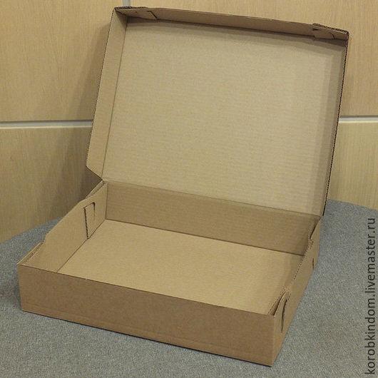 Упаковка ручной работы. Ярмарка Мастеров - ручная работа. Купить Коробка 40х30х8 из микрогофрокартона цвета крафт. Handmade. Коробочка