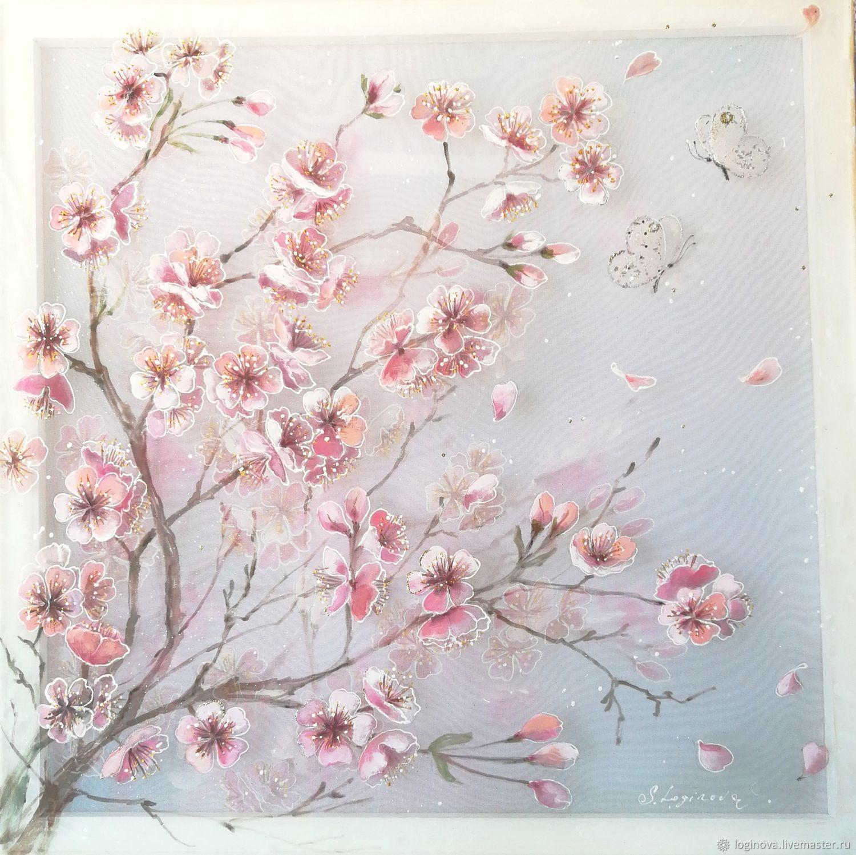 Цветущая сакура, цветение вишни, картина на шёлке, Картины, Находка,  Фото №1