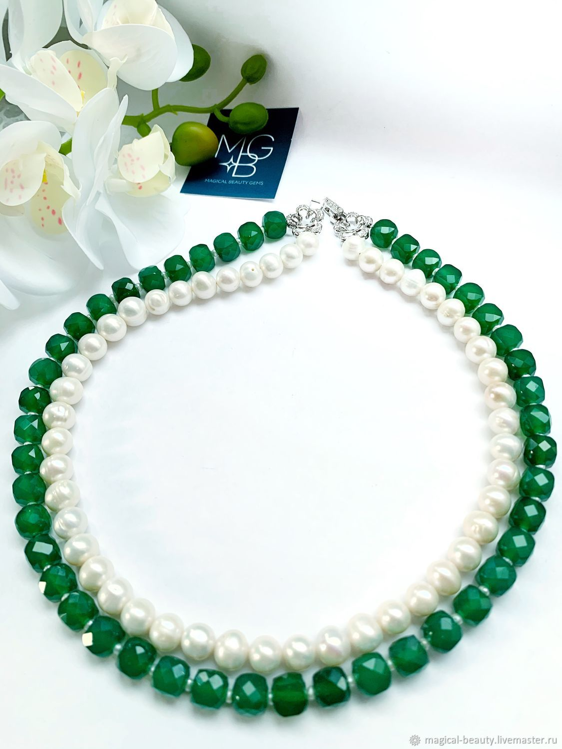 Chrysoprase and pearl necklace ' Snowdrops', Necklace, Moscow,  Фото №1