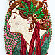 Laurel pendant based on the works of Alphonse Mucha hand embroidery, Pendant, Ekaterinburg,  Фото №1