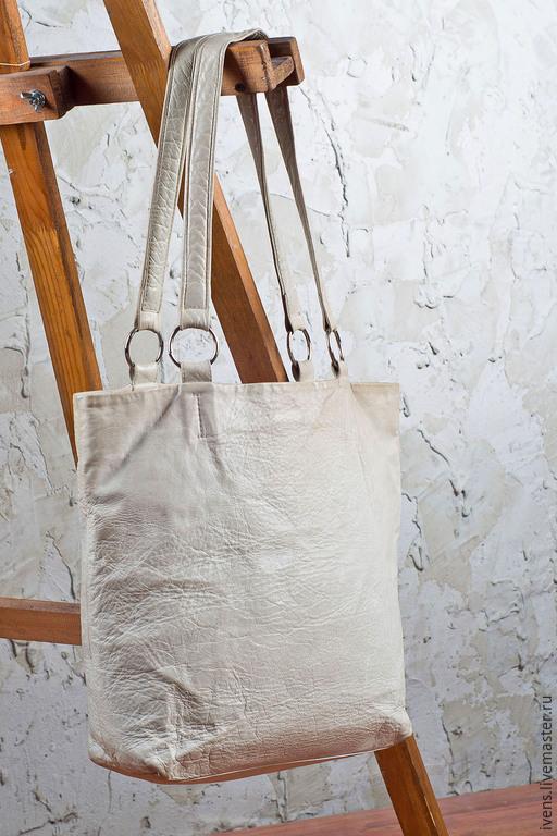Женские сумки ручной работы. Ярмарка Мастеров - ручная работа. Купить Сумка-шопер. Handmade. Белый, кожа натуральная
