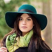 Аксессуары handmade. Livemaster - original item Wide-brimmed hat Classic. color emerald. Handmade.