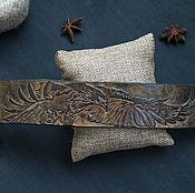 Bead bracelet handmade. Livemaster - original item Leather bracelet, embossed, EAGLE. Handmade.