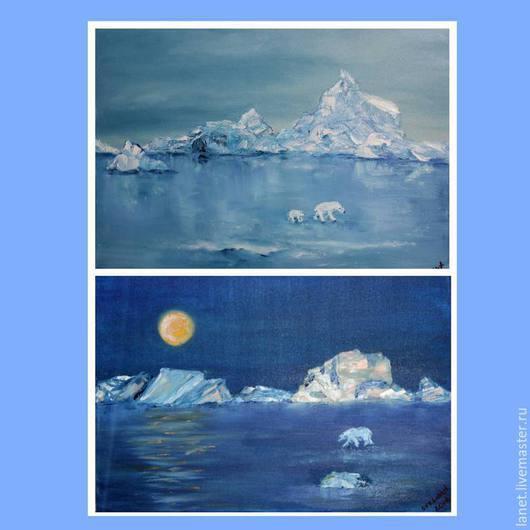 """Пейзаж ручной работы. Ярмарка Мастеров - ручная работа. Купить Диптих """"Тишина Арктики"""" масло. Handmade. Голубой, луна, зима"""