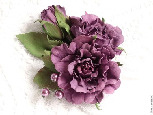 Заколки ручной работы. Ярмарка Мастеров - ручная работа. Купить украшение заколка брошь розы из фоамирана Сиреневый туман 3. Handmade.