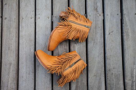 Обувь ручной работы. Ярмарка Мастеров - ручная работа. Купить Кожаные ботинки Amelia . Ботинки из натруальной кожи. Handmade. Рыжий