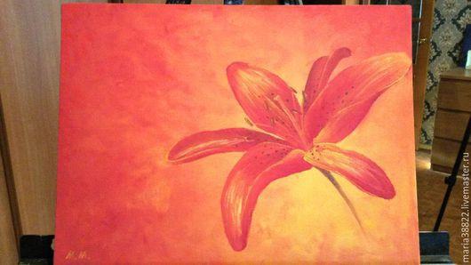 """Картины цветов ручной работы. Ярмарка Мастеров - ручная работа. Купить Картина """"Грани настроения. Red."""", масло, холст на картоне. Handmade."""