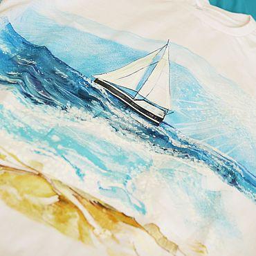 Одежда ручной работы. Ярмарка Мастеров - ручная работа Футболка: Хочется плыть. Handmade.