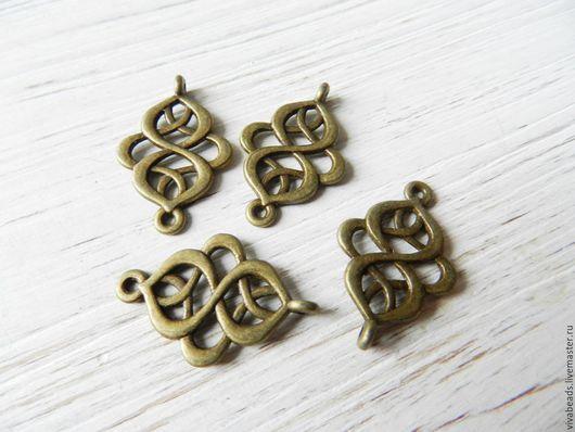 Коннектор металлический для украшений Китайский узел, размер 28х18 мм цвет БРОНЗА,  материал - сплав металлов (арт. 851-1)