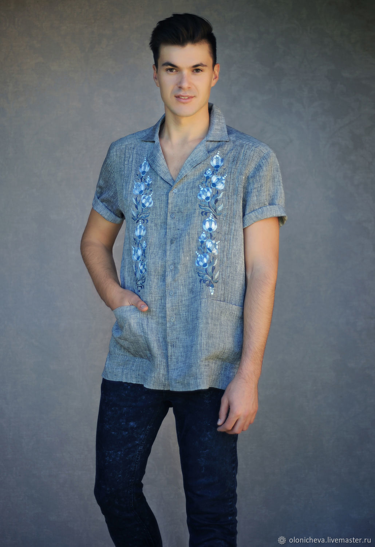 Embroidered shirt 'blue Gray', stylish embroidery, Mens shirts, Vinnitsa,  Фото №1