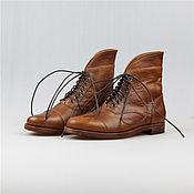 """Обувь ручной работы. Ярмарка Мастеров - ручная работа Ботинки кожаные коричневые """"Горы позади #2"""". Handmade."""