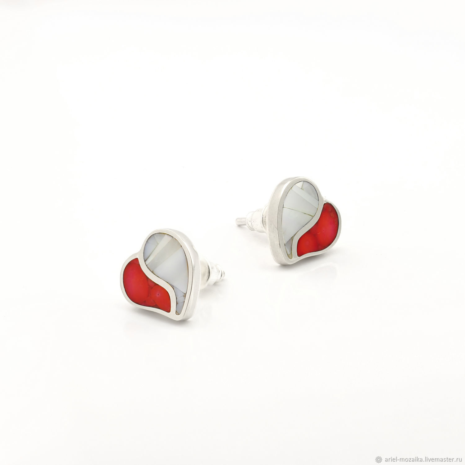earrings. Coral and mother of pearl. Earring studs handmade, Stud earrings, Moscow,  Фото №1