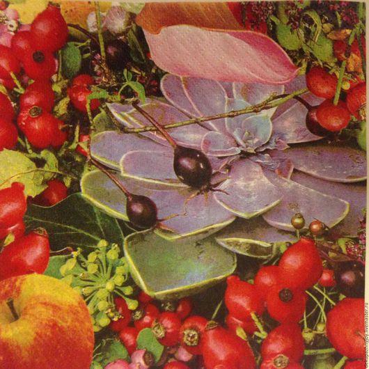 Салфетка для декупажа  -каменный цветок в сочном шиповнике и яблоках, спелая осень Декупажная радость