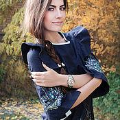 """Одежда handmade. Livemaster - original item Черное маленькое платьице с уникальной вышивкой """"Изумрудные травы"""". Handmade."""