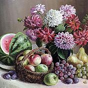 Картины и панно ручной работы. Ярмарка Мастеров - ручная работа Натюрморт с фруктами  и георгинами. Handmade.
