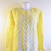 Одежда handmade. Livemaster - original item The sweater is female, gentle-yellow color with braids. Handmade.