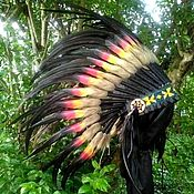 Одежда handmade. Livemaster - original item Indian Headdress, Double Feathers Native American Warbonnet. Handmade.