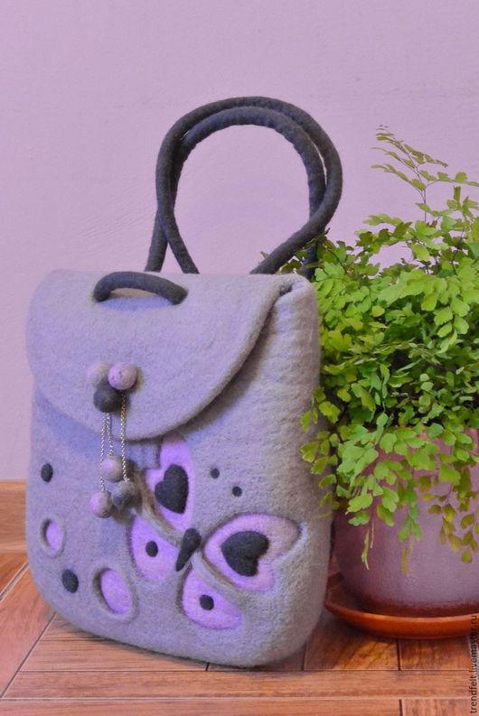 """Рюкзаки ручной работы. Ярмарка Мастеров - ручная работа. Купить Рюкзак валяный """"Эва"""", валяная сумка с бабочкой, бабочка. Handmade."""