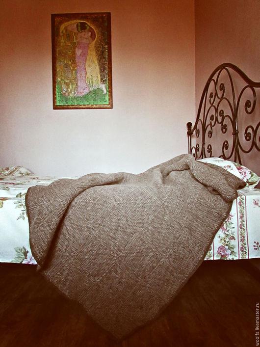 """Текстиль, ковры ручной работы. Ярмарка Мастеров - ручная работа. Купить Плед """"Rustik"""" , вязаный плед шерстяной. Handmade. Коричневый"""