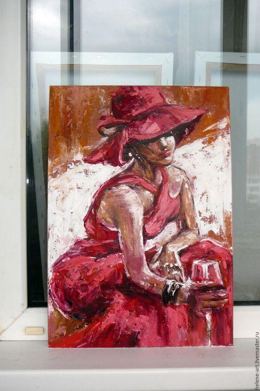 """Люди, ручной работы. Ярмарка Мастеров - ручная работа. Купить Картина маслом """" Девушка в красном  """" 35х50 (девушка,красный). Handmade."""
