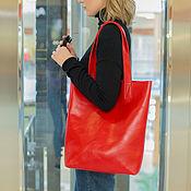 Сумки и аксессуары handmade. Livemaster - original item Women`s leather bag shopper red (leather bag). Handmade.