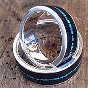 Кольца ручной работы. Ярмарка Мастеров - ручная работа Бирюзовая нежность - серебряные обручальные кольца с деревом. Handmade.