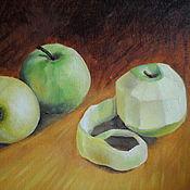 handmade. Livemaster - original item Oil painting of Green apples. Handmade.