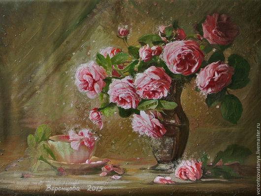 """Картины цветов ручной работы. Ярмарка Мастеров - ручная работа. Купить """"Запах роз"""".. Handmade. Разноцветный, натюрморт с цветами, картина"""