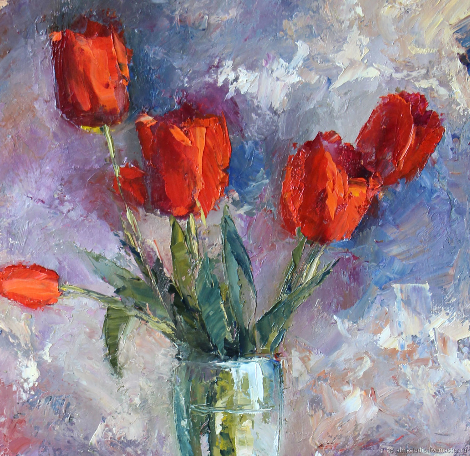 Red tulips. oil on canvas, 35*50 cm, Pictures, Obninsk,  Фото №1