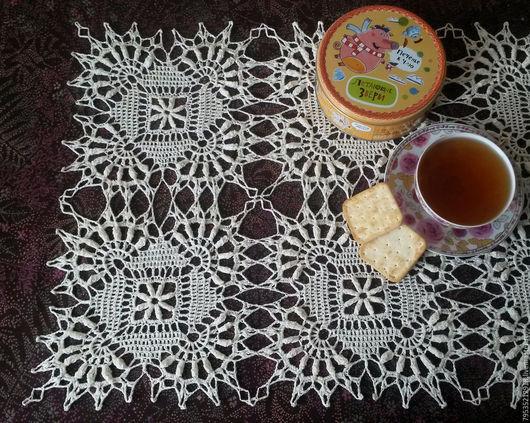 Текстиль, ковры ручной работы. Ярмарка Мастеров - ручная работа. Купить Вязаная крючком льняная салфетка (дорожка) Фроттола-2. Handmade.