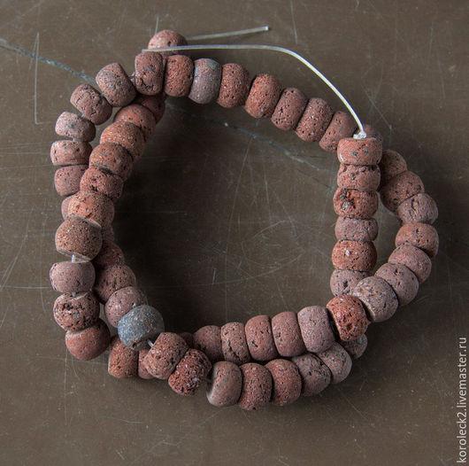 Для украшений ручной работы. Ярмарка Мастеров - ручная работа. Купить Бусины-рондели из красно-коричневой лавы, 10 мм. Handmade.