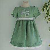Платья ручной работы. Ярмарка Мастеров - ручная работа Платье льняное с вышитыми травами и кружевом. Handmade.